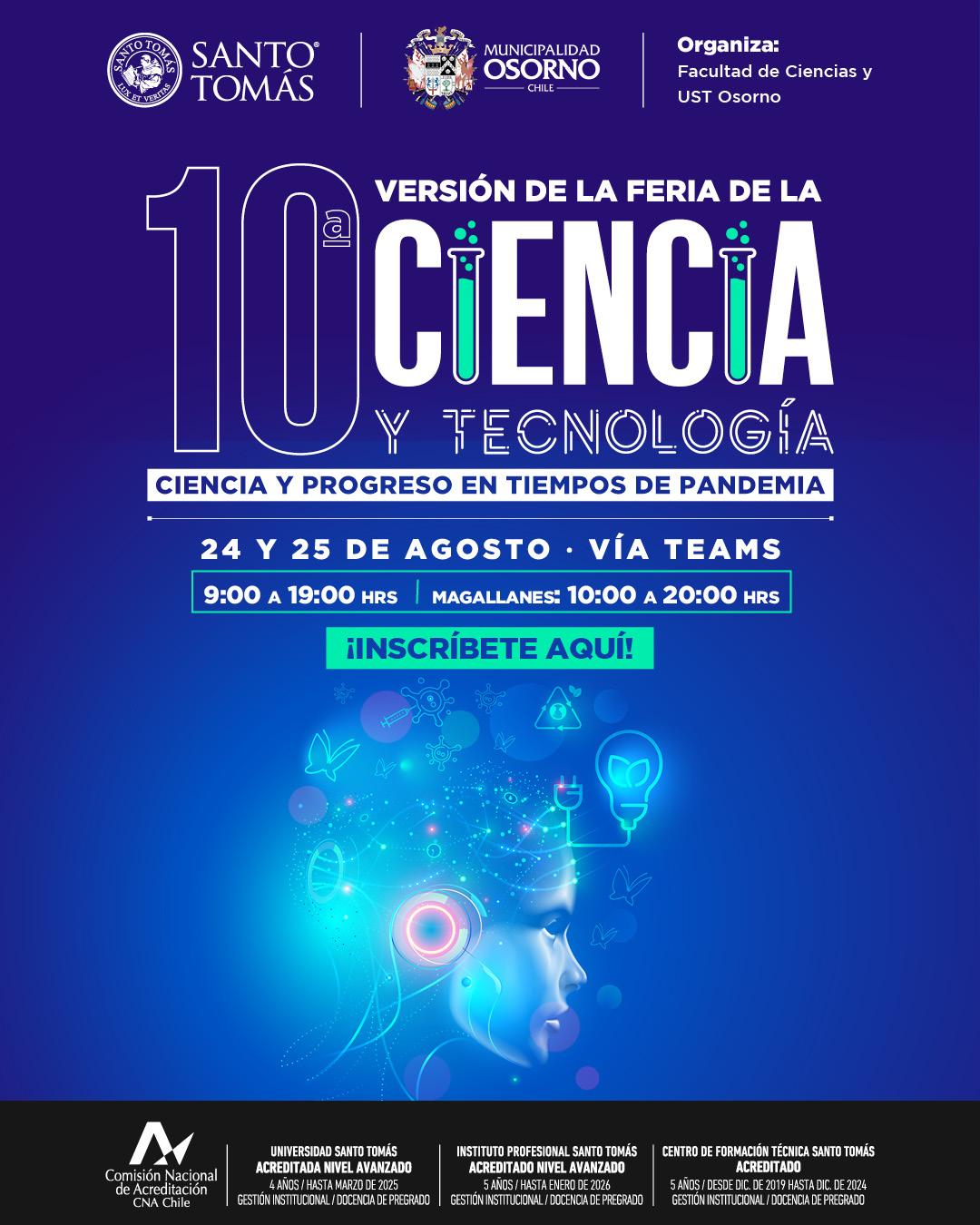Universidad Santo Tomás Osorno invita a participar de 10° Feria de la Ciencia y Tecnología este martes 24 de agosto